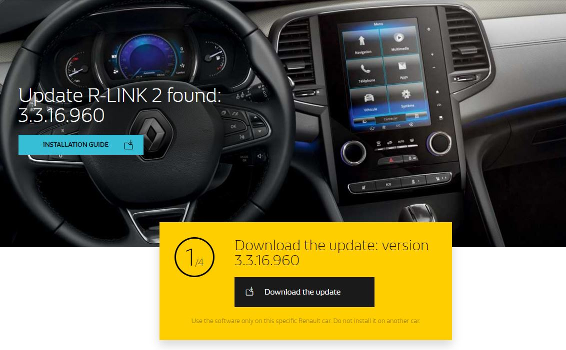 R-Link 2: the 3 3 16 96x update is avalaible for download